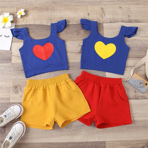 Girls Heart Flying Sleeve Sling Top Solid Shorts children's wholesale boutique clothing