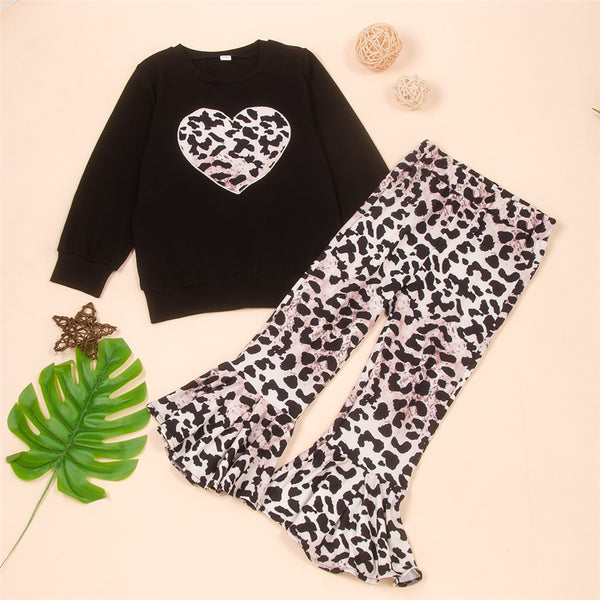 Toddler Girls Heart Leopard Long Sleeve Top & Bell Trousers Girl Wholesale