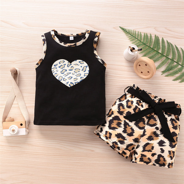 Girls Heart Leopard Printed Sleeveless Top & Shorts Wholesale Little Girl Clothes