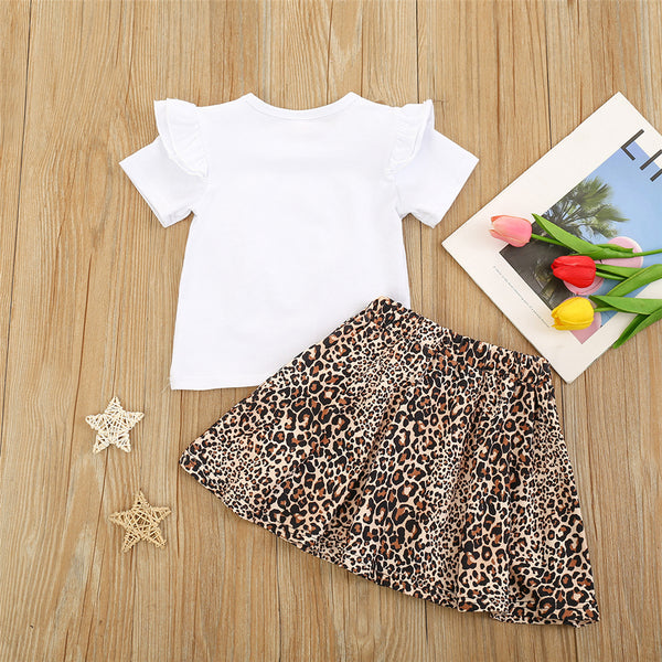 Girls Heart Leopard Short Sleeve Top & Skirt children's wholesale boutique clothing