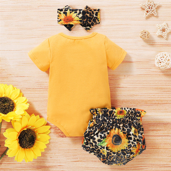 Baby Girls Heart Leopard Sunflower Printed Short Sleeve Romper & Shorts & Headband cheap baby girl clothes boutique