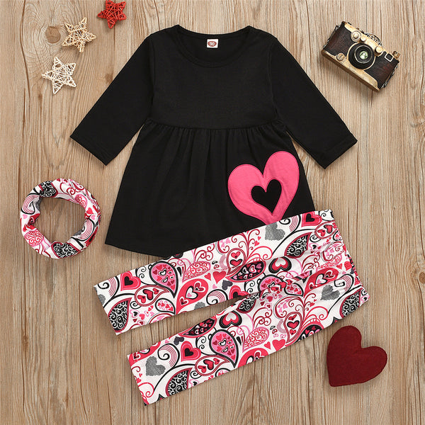 Girls Heart Long Sleeve Top & Printed Pants & Scarf Kids Apparel Wholesalers