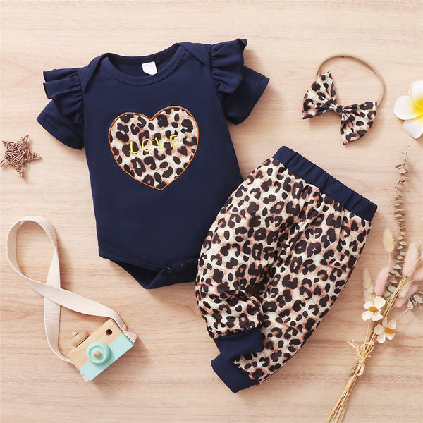 Baby Girls Heart Love Leopard Printed Short Sleeve Romper & Pants & Headband baby clothes vendors