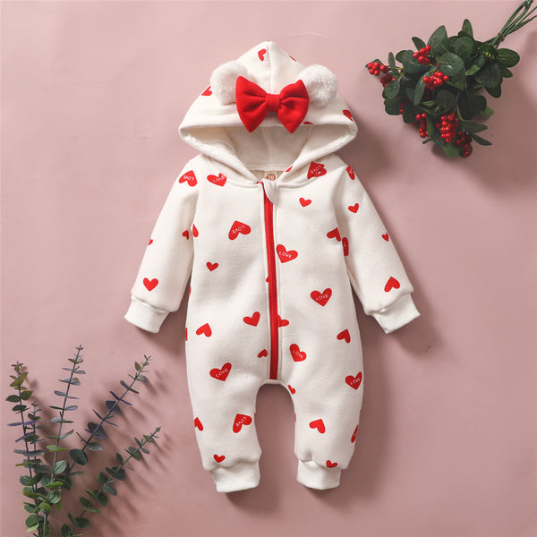 Baby Girls Heart Love Printed Long Sleeve Cute Hooded Romper Baby Clothing Wholesale Distributors