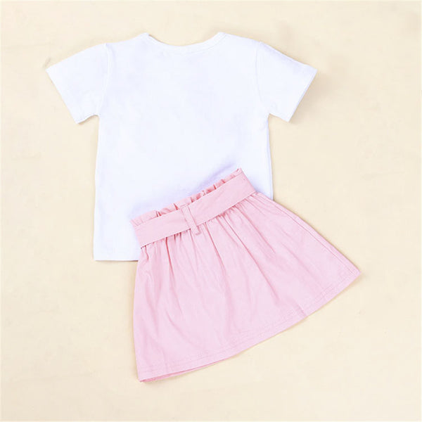 Girls Heart Pearl Short Sleeve Top & Skirt Wholesale Little Girls Clothes
