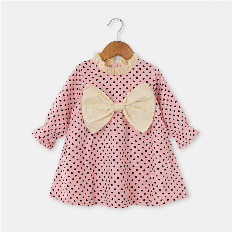 Girls Heart Printed Bow Decor Long Sleeve Dress Wholesale Girl Dresses