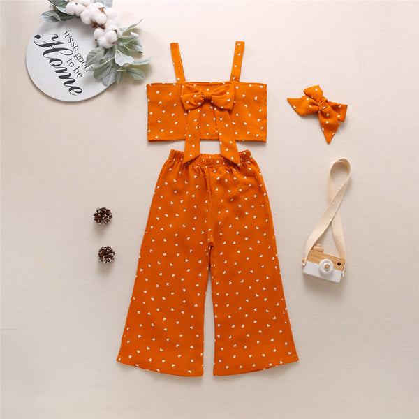 Girls Heart Printed Bow Decor Sling Tube Top & Wig Leg Pants & Headband wholesale girls clothes