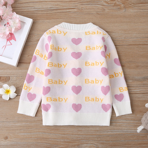 4PCS Baby Girls Heart Printed Cardigan Sweaters Long Sleeve Jacket Wholesale Baby Boutique Items