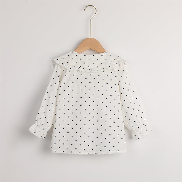 Girls Button Heart Printed Long Sleeve Cotton Blouse Kids Boutique Wholesale