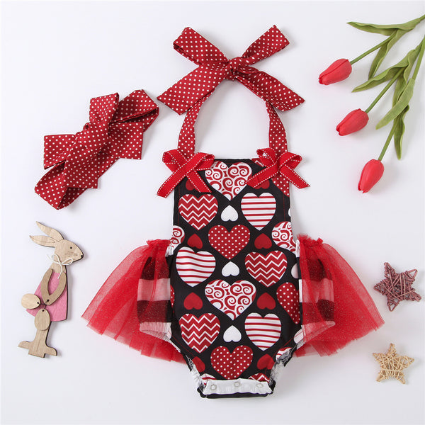 Baby Girls Heart Printed Mesh Valentine's Day Romper & Headband Wholesale Baby Clothes