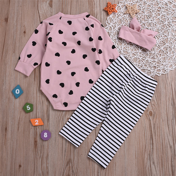 Baby Girls Heart Printed Romper & Striped Pants & Headband Wholesale