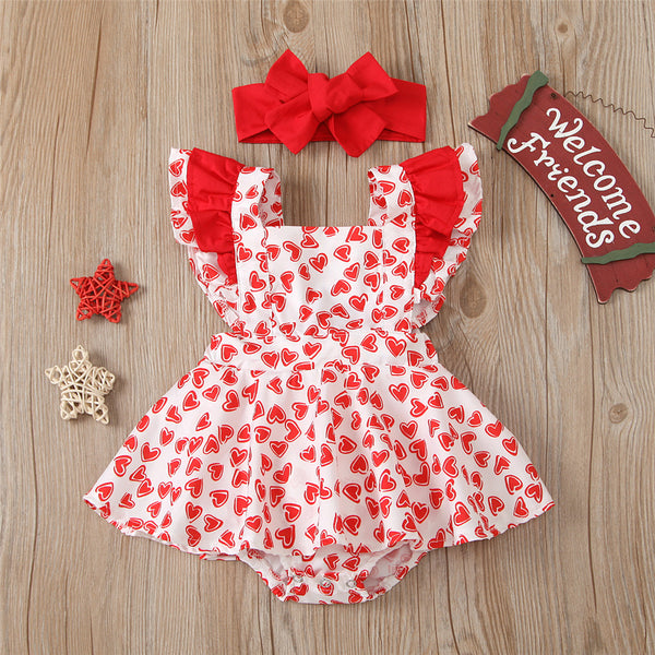 Baby Girls Heart Printed Ruffled Sleeve Romper Dress & Headband Wholesale Baby Clothes In Bulk