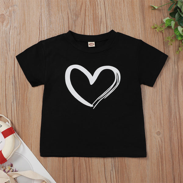 Girls Heart Printed Short Sleeve Top Girl Boutique Clothing Wholesale