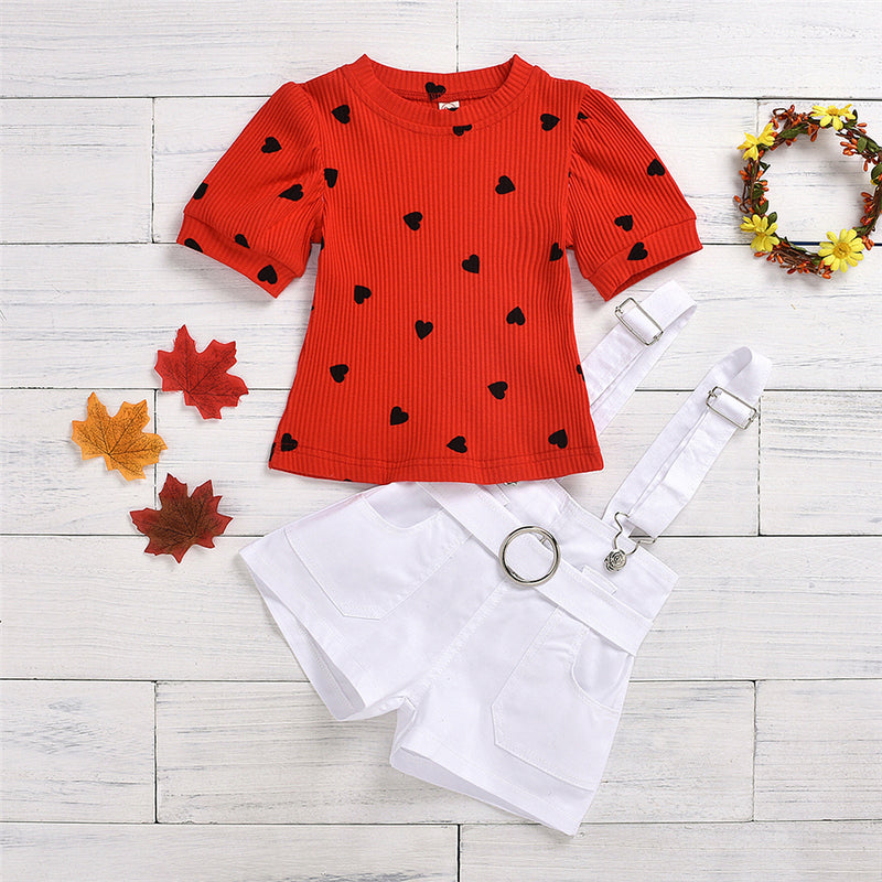 Girls Heart Printed Short Sleeve Top & White Overalls Girls Clothing Wholesale