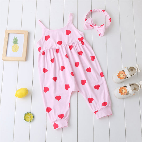 Baby Girls Heart Printed Sling Romper & Headband cheap baby girl clothes