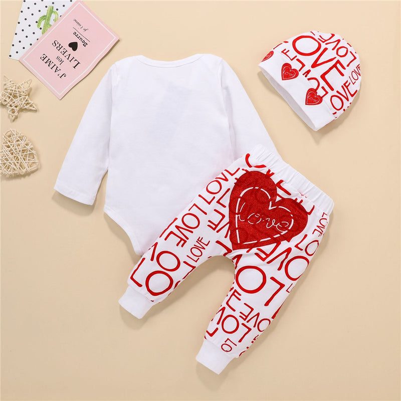 Baby Girls Heart Printed Valentine's Day Long Sleeve Romper & Pants & Hat Baby Clothing Cheap Wholesale