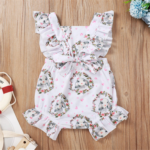 Baby Girls Heart Rabbit Printed Sleeveless Romper Baby Wholesale Baby Rompers