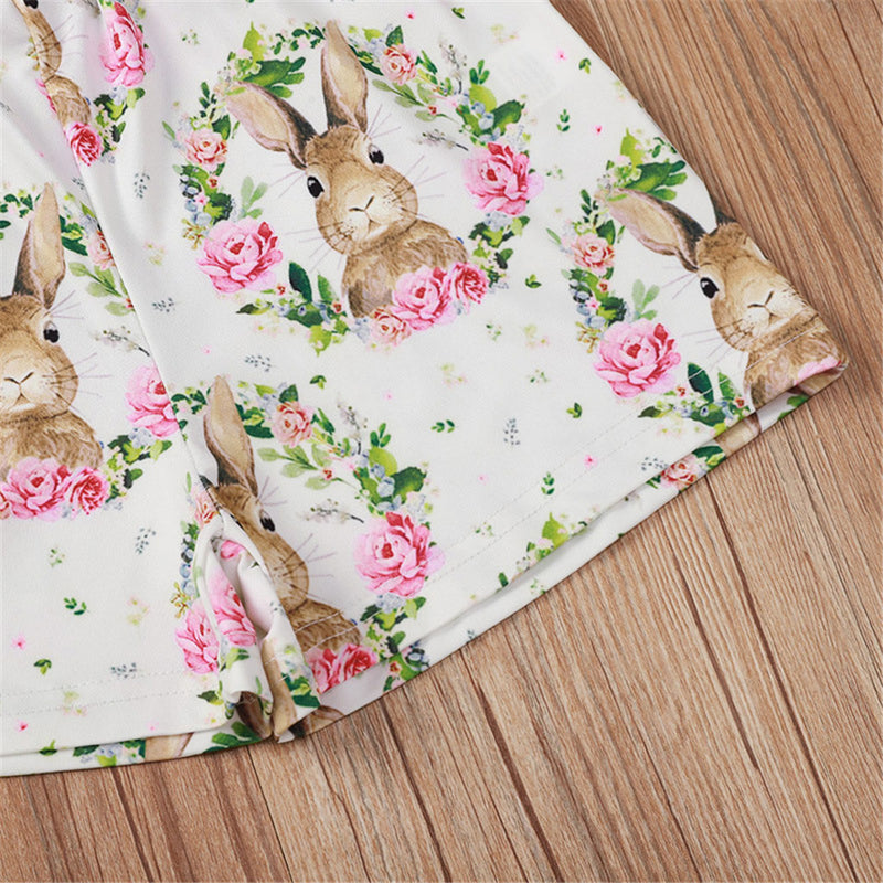 Girls Heart Rabbit Printed Sling Printed Top & Shorts Baby Girl Wholesale
