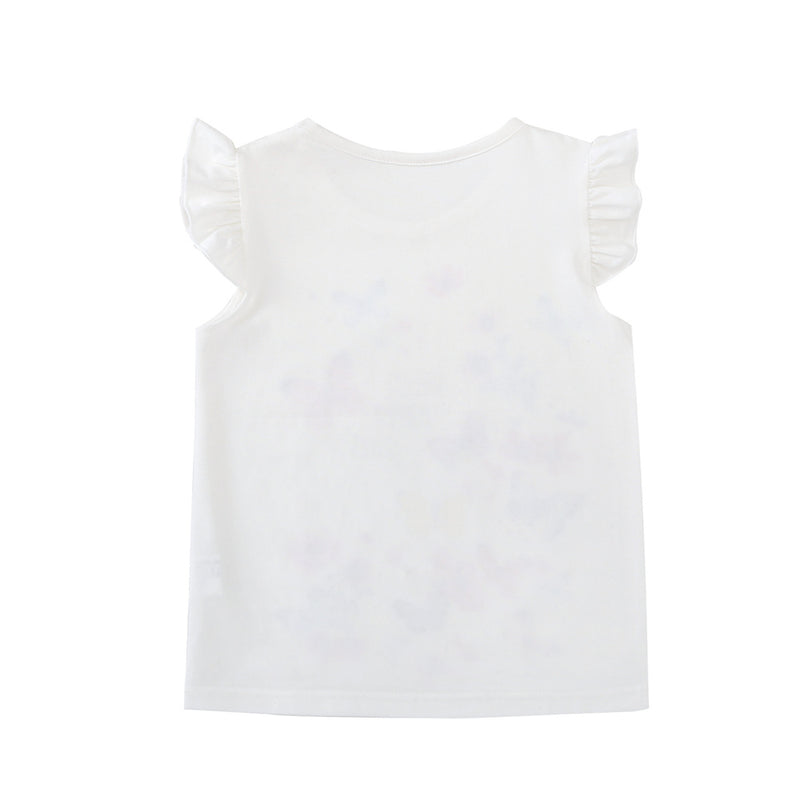 Girls Hello Happy Days Butterfly Sleeveless T-Shirts Wholesale Little Girl Clothing