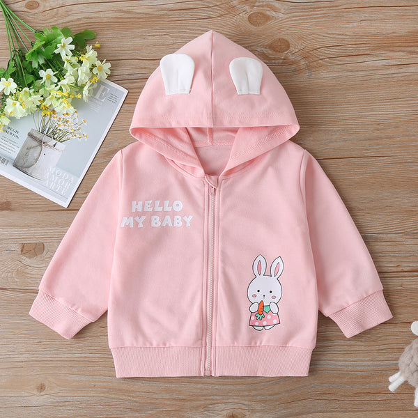 Baby Girls Hello My Baby Rabbit Hooded Long Sleeve Zipper Jacket Wholesale Baby Boutique Items