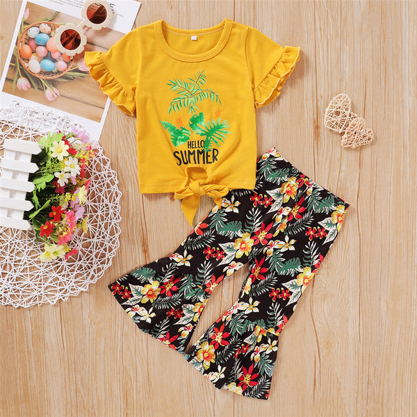 Girls Hello Summer Short Sleeve Plant Printed Top & Flared Pants Girls Clothing Wholesale