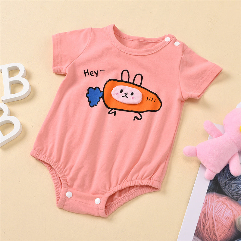 Baby Girls Hey Carrot Cartoon Short Sleeve Romper Boutique Baby Clothes Wholesale