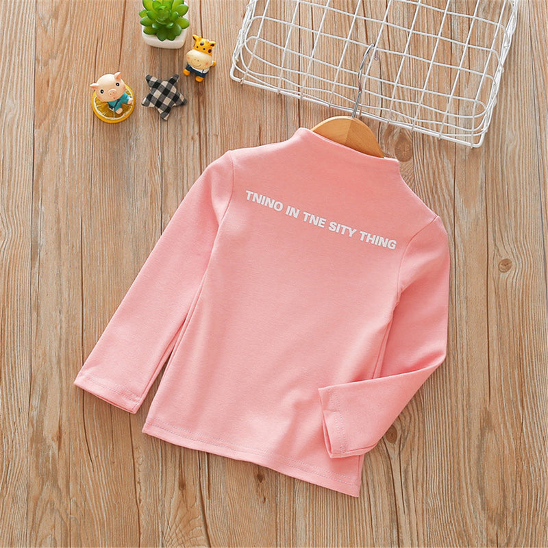 Girls High Collar Letter Print Solid Tops