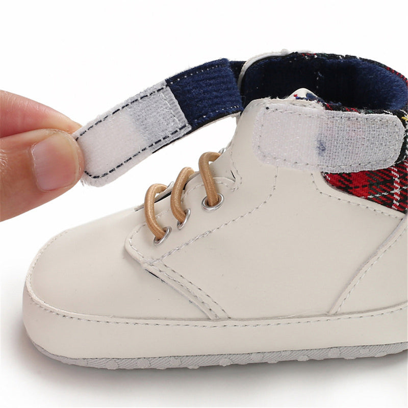 Baby Boys High Top Plaid Magic Tape Sneakers Wholesale Toddler Shoes