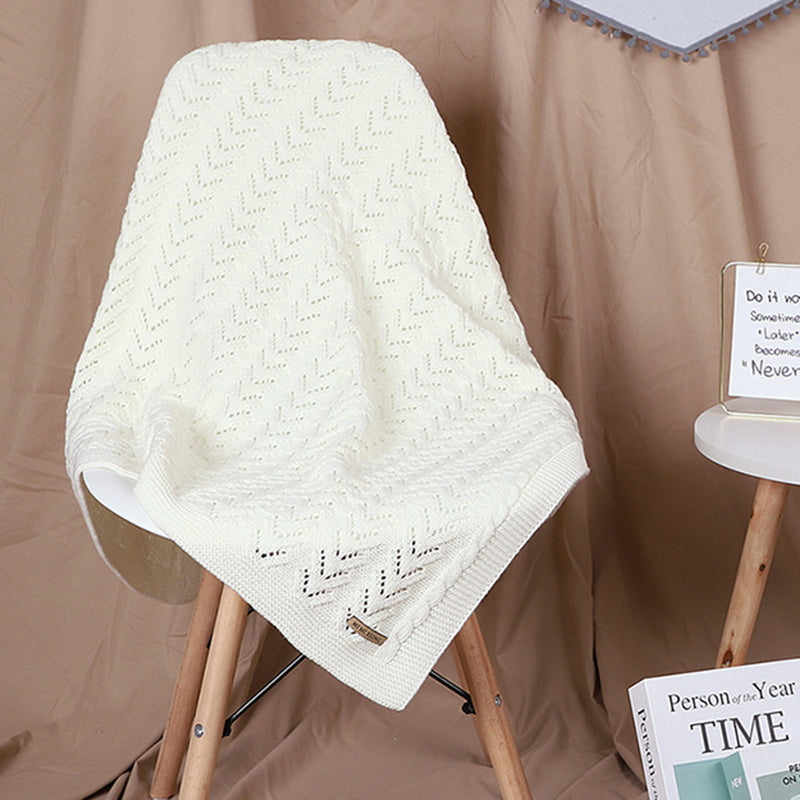 Baby Hollow-out Knitted Solid Color Wholesale Baby Blankets