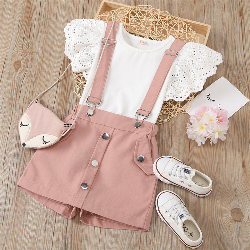 Girls Hollow Flying Sleeve Crew Neck Solid Top & Suspender Skirt Wholesale Baby Girl Clothes
