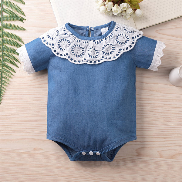 Baby Girls Hollow Out Collar Short Sleeve Romper Baby Boutique Wholesale