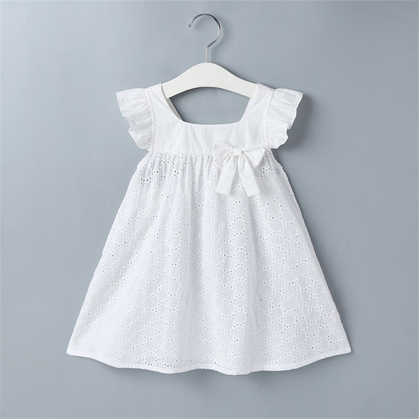 Girls Bow Hollow Out Flutter Sleeve Princess White Dresses Little Girl Party Dresses Wholesale