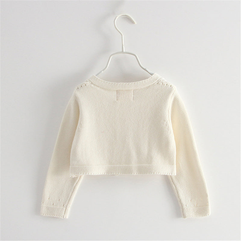 Girls Hollow Out Long Sleeve Solid Cardigan Sweaters