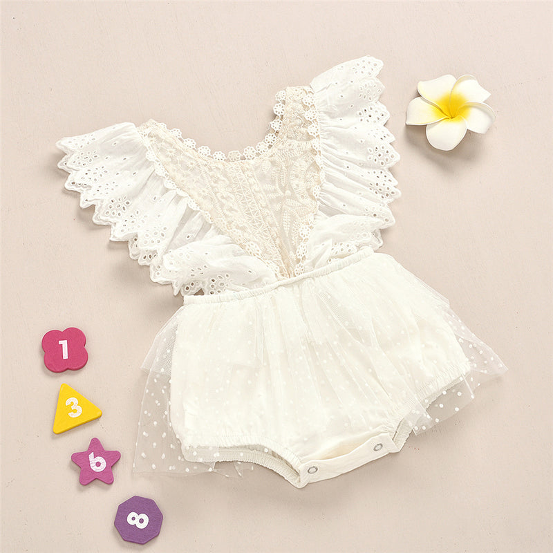 Baby Girls Hollow Out Ruffled Mesh Romper Baby Clothes Wholesale Bulk