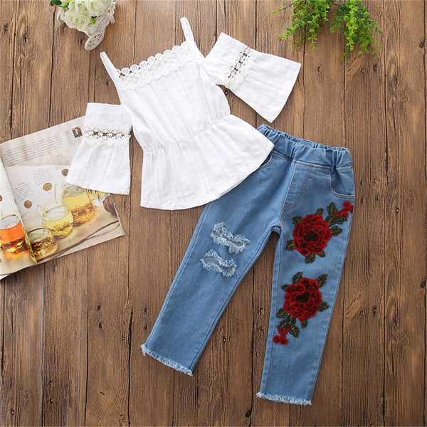 Girls Hollow Out Short Sleeve Sling Top & Floral Embroidery Jeans Kids Clothing Vendors