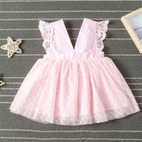 Girls Hollow Out Sleeveless Tulle Princess Dress Girls Clothing Wholesale