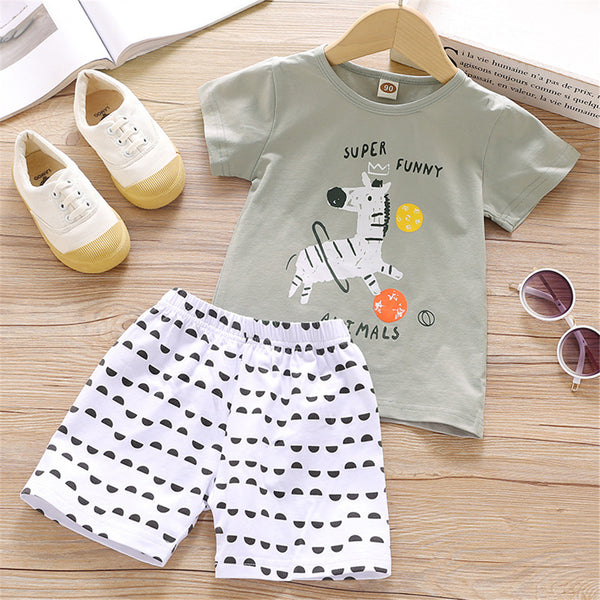 Boys Homewear Short Sleeve Zebra Letter Printed Top & Shorts boy boutique clothing wholesale