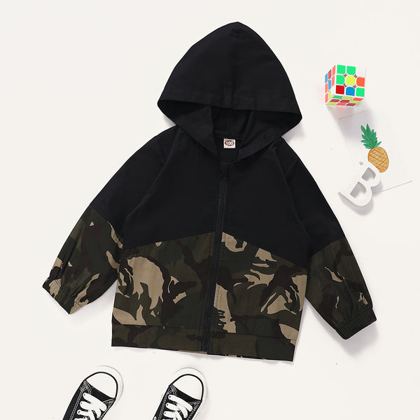 Unisex Hooded Camo Long Sleeve Zipper Tops Kids Boutique Clothing Cheap