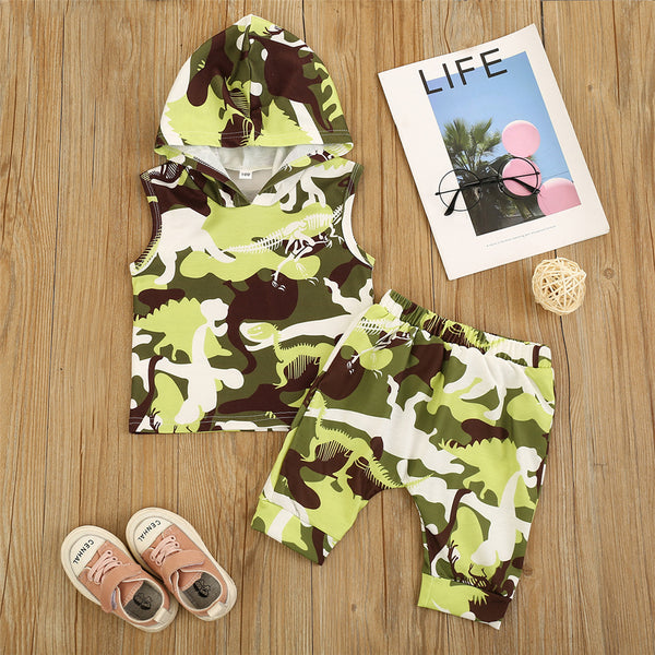Boys Hooded Camo Sleeveless Dinosaur Printed Top & Shorts wholesale children's boutique clothing suppliers usa
