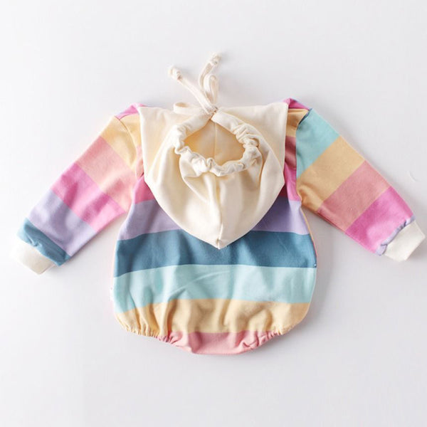 Baby Hooded Colorful Stripe Long Sleeve Jumpsuit