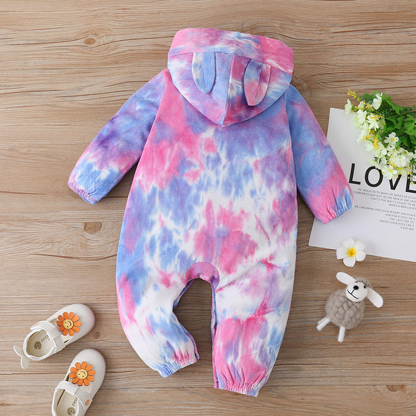 Baby Girls Hooded Cute Long Sleeve Tie-dye Romper Baby Clothing In Bulk