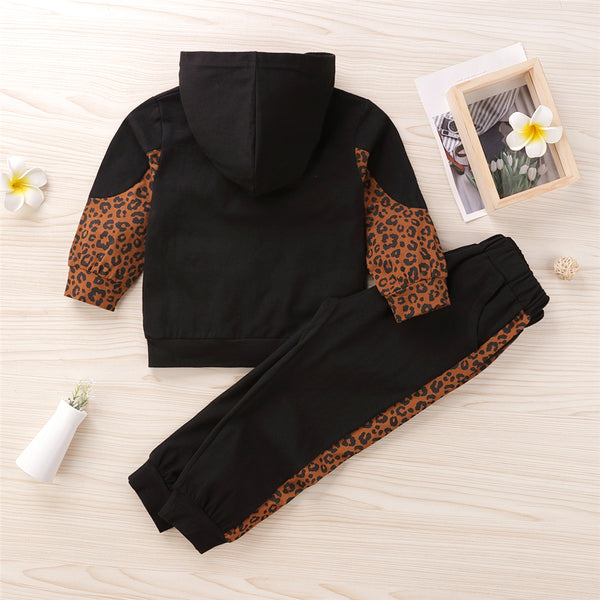 Girls Hooded Leopard Long Sleeve Top & Pants Bulk Baby Girl Clothes