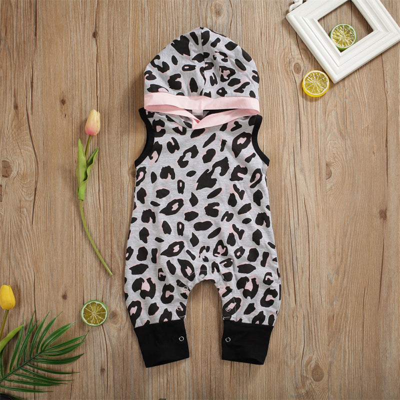 Baby Girls Hooded Leopard Sleeveless Romper Cheap Boutique Baby Clothes