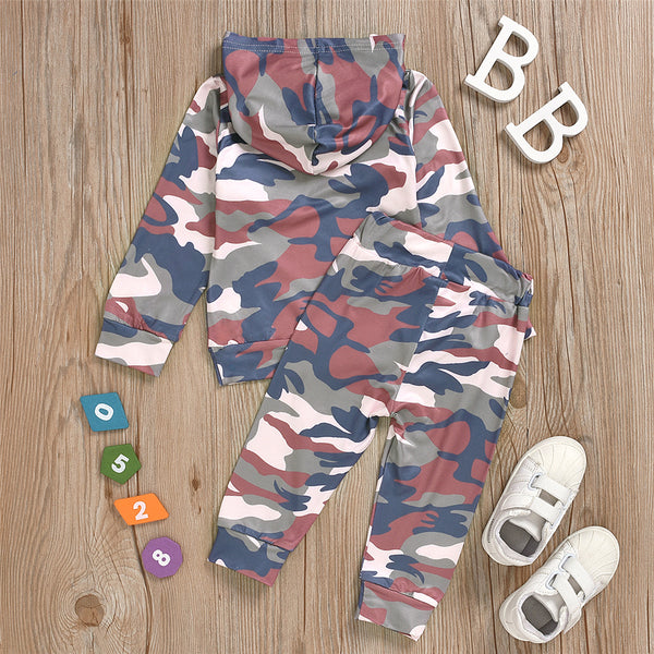 Baby Boys Hooded Letter Camo Hooded Top & PantsBaby Clothes Wholesale Bulk