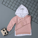 Boys Hooded Letter Printed Long Sleeve Tops