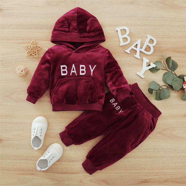 Baby Hooded Long-Sleeve Top & Pants Cheap Baby Clothes In Bulk
