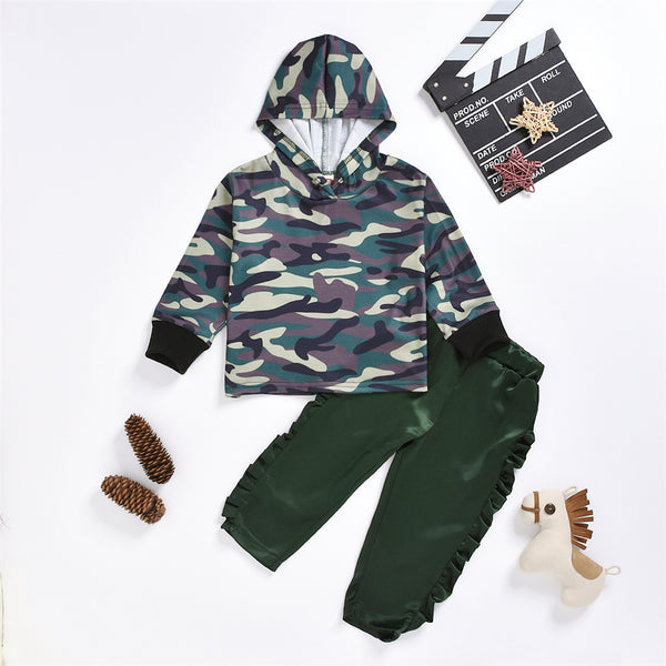 Girls Hooded Long Sleeve Camo Top & Pants Wholesale Baby Girl Clothes