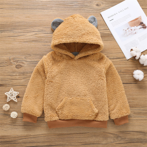 Unisex Hooded Long Sleeve Cute Plush Tops Bulk Childrens Clothing Suppliers