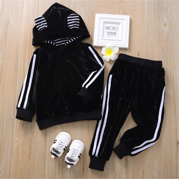 Unisex Hooded Striped Long Sleeve Cute Tracksuit Wholesale Children