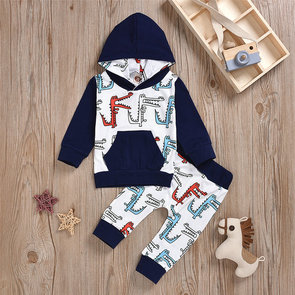 Baby Boys Hooded Long Sleeve Dinosaur Top & Pants Baby Boutique Wholesale